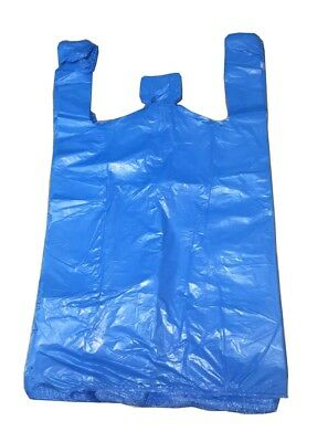"Strong Blue Carrier Bags Vest XXL Large Jumbo 18mu 12x18x23"" Select Size & Qty"