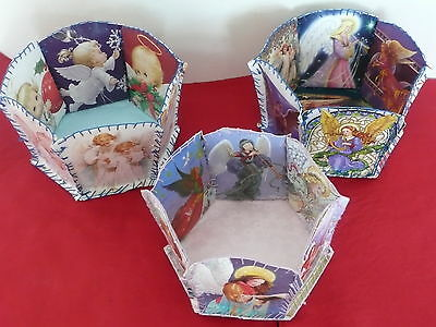 HOLIDAY CHRISTMAS ANGEL THEMED HANDMADE BASKETS-3-PERFECT FOR GIFTS TREATS