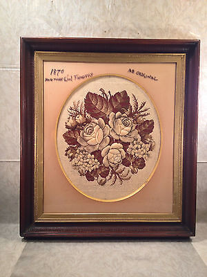 Wool Tapestry of Roses 1870s Great Frame and Matting Job • CAD $213.07