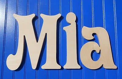 """Wood Wall Letters 10"""" size Unpainted Wooden Decor Child Nursery Names Victorian"""