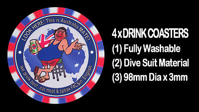 4  x   LOOK HERE! THIS IS AUSTRALIA MATE! BEER! MEAT! ENGLISH, ! DRINK COASTERS