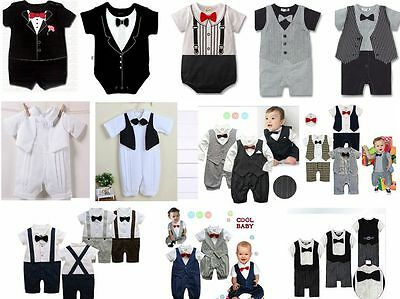 New Baby Boy Wedding Party Texedo Suite Bowie One Piece Romper Outfit000. 00.0.1