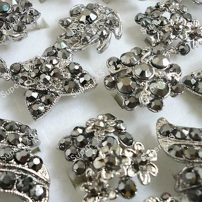 wholesale lots jewelry 6pcs vintage Rhinestone silver plated rings free shipping