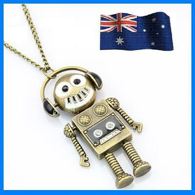 Fashion Vintage Retro Jewelry Necklace Pendantbrass Music Robot Long Chain GIFT