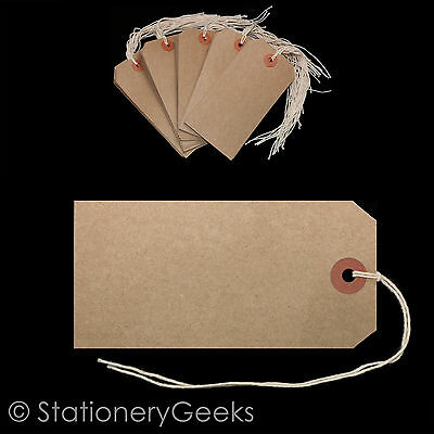 50 Strung Reinforced Tags 120mm x 60mm Brown Buff Size 5 Luggage Labels Tagging
