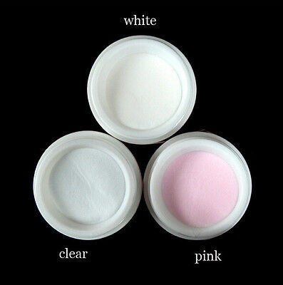 Acrylic Powder Color Nail Art Builder Manicure Clear/ Pink / White Liquid Tips