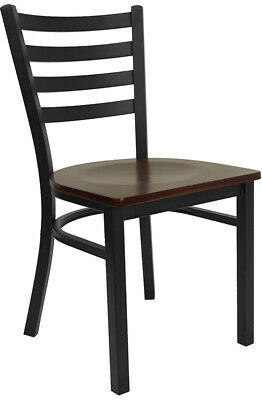 Mahogany Wood Seat Metal Ladder Back Restaurant Chair