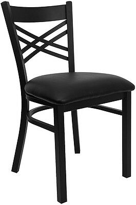 Lot of 20 Metal X Back Restaurant Chairs with Black Vinyl Seat