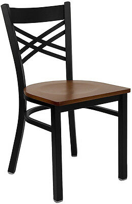 Metal X Back Restaurant Chair with Cherry Wood Seat