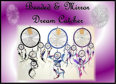 ~1x LARGE BEADED WEB & MIRROR DREAM CATCHER~Wall Hanging Ornament~Approx.60cm