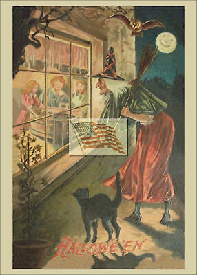 REPRINT PICTURE of old postcard HALLOWEEN WITCH WATCHING KIDS THRU WINDOW 5x7