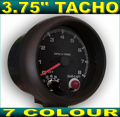 "TACHO TACHOMETER 3.75"" 95mm WITH 7 COLOUR DISPLAY & SHIFT LIGHT"
