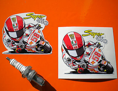Pair of   MARCO SIMONCELLI Super Sic Motorcycle Stickers 84mm
