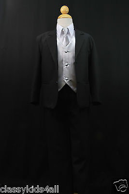 C2 BOY Formal Party Black Tuxedo Suit Silver Vest & Tie  S M L XL 2T 3T 4T-14