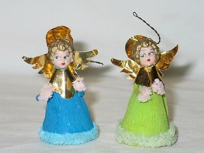 Vintage Christmas Spun Cotton Chenille Crepe Paper Angel Ornaments 1940's #3