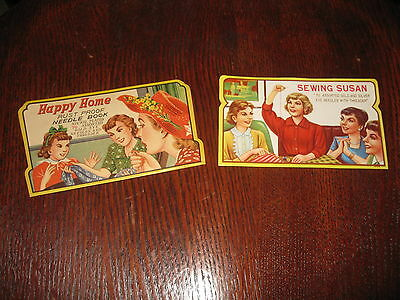 2 Vintage 1940s/50s Bi-Fold Sewing Needle Assortments SEWING SUSAN & HAPPY HOME