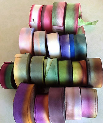"""SILK 1"""" RIBBON on the BIAS HANAH Made in USA 1yd Embroidery Ribbon Flowers"""