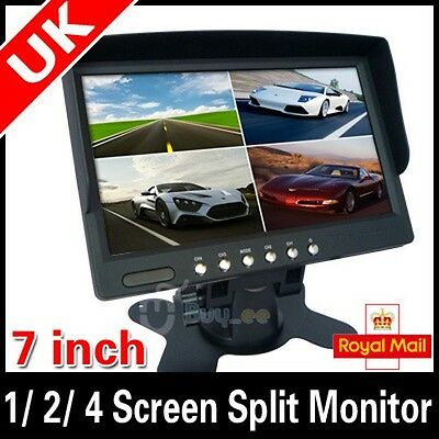 7 inch Car Rear View 1/ 2/ 4 Screen Split Monitor FOR CAR Rear View Camera UK