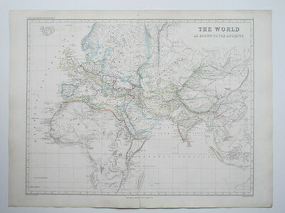 1873 Map The World As Known To The Ancients Hand Colouring Large Smith