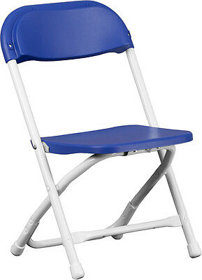 Lot of 10 Kids Size Blue Plastic Seat & Back Steel Frame Folding School Chairs