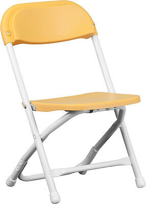 Lot 10 Kids Size Yellow Plastic Seat & Back Steel Frame Folding School Chairs