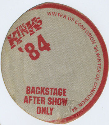 THE KINKS 1984 WINTER OF CONFUSION TOUR Backstage Pass