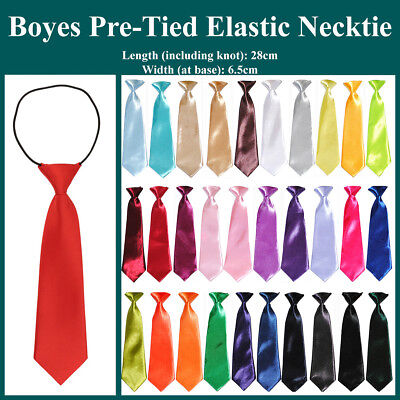 New School Boys Kids Children Baby Wedding Solid Colour Elastic Tie Necktie