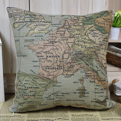 45*45cm Retro Linen Colourful Europe Map Design pillow case /Relic cushion Cover