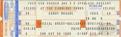 Kenny Rogers 1980 Unused Concert Ticket Gallagher