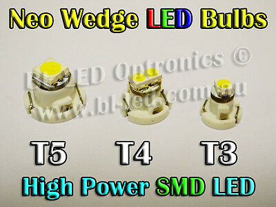 1 x Neo Wedge SMD SMT LED Bulbs T3 T4 T5 White Blue Red Green Amber HVAC AC