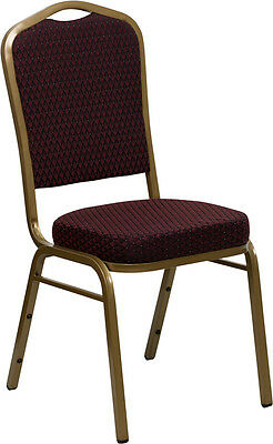 Burgundy Patterned Fabric Crown Back Gold Frame Banquet Stack Chair