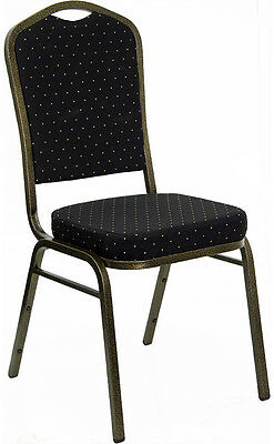 Black Patterned Fabric Crown Back Steel Frame Banquet Stack Chair