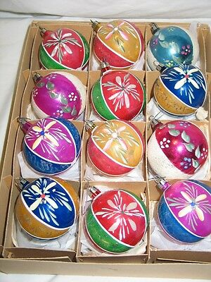 Vintage Christmas Poland Glass Ornaments Hand Painted Flowers Beauiful IOB