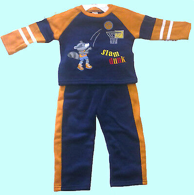 BNWT EMBROIDERED SLAM DUNK PRINT BLUE WITH YELLOW b.f BABY BOYS JOG SUIT