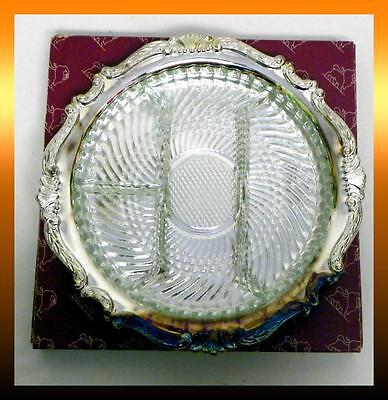 "Sheridan TAUNTON Silver Plate 12"" Round RELISH TRAY w/ GLASS INSERT *NEW in BOX*"