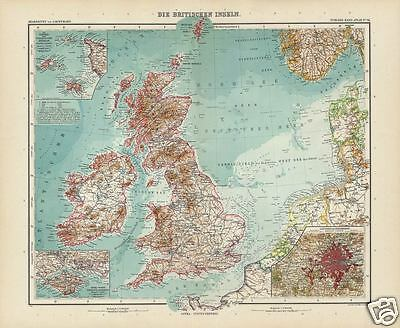 1905 Antique STIELER Map of the British Isles. London, Channel Islands