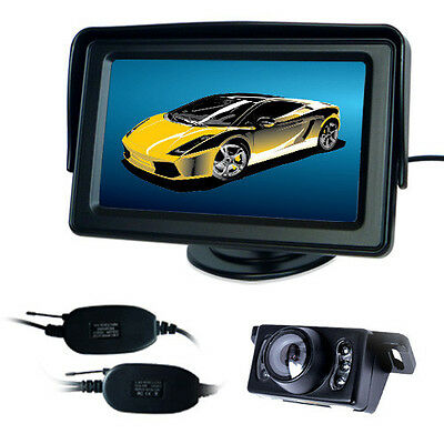 "Wireless Car Rear View Kit 4.3"" Tft Lcd Monitor + Ir 6Led Reversing Camera"