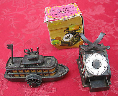2 Pc Lot Vintage Diecast Metal Pencil Sharpener Steamboat 9612 & Scale 6006   ✞