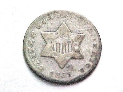 1851 O Three Cent Silver Piece..XF Grade...scarce O mint 3cs