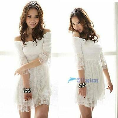 HOT Sexy women's lace clothing T-shirt Dress#053white  Free Size TL