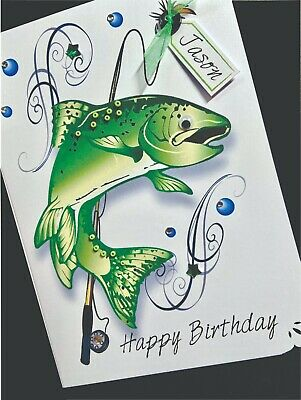 Hand-Made Personalised  Handmade 'FISHING' Birthday Card