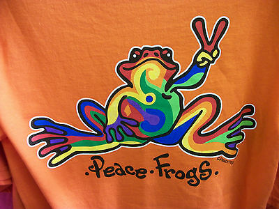 Peace Frogs Frog Retro Adult Orange Small T-Shirt
