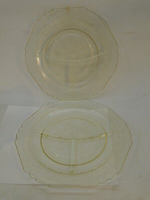 Vintage Depression Glass Florentine Poppy Divided Dinner Grill Plates Yellow