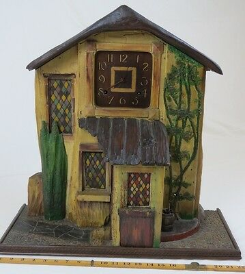 Large Folk Art Carved & Painted Wooden Clock. Movement By Ansonia New York.