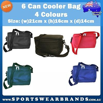 6 Can Cooler Bag Lunch Box Picnic Beer Insulated Travel Black Red Navy Green New