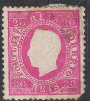 Stamp(W43) 1870 Portugal 20R Red round Corner ow143