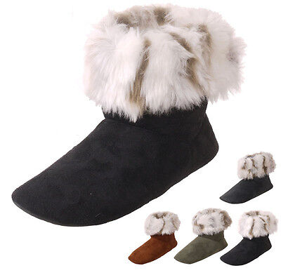 WHOLESALE Lot OF 30 prs Women's Faux Fur Trim Booties Indoor Slippers,