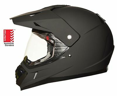 Dual sport helmet Road Adventure full face motocross motorcycle Dirt MATT BLACK