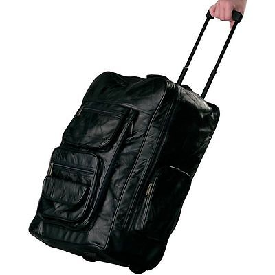 "23"" Black Leather Rolling Suitcase Backpack , Mens Carry-On Trolley Luggage Bag"