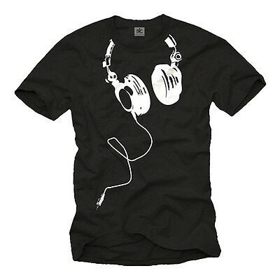 Electro House Music Dj Men Shirt With Headphones - Short Sleeve Techno Club Tee